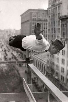 1921, New York construction worker, yoga style.