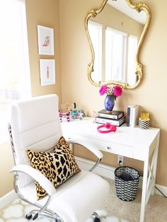 Dazzling girly and bright workspace/vanity/home office