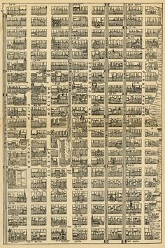 Map of Midtown Manhattan, from 34th Street to 59th Street and from 1st Avenue to 6th Avenue. Sun Manhattan, 1890.