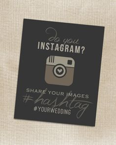 Wedding Instagram Cards for reception tables