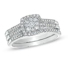 1/2 CT. T.W. Diamond Cluster Square Frame Three-Piece Bridal Set in 10K White Gold - Jewelry Rings PV - Gordon's Jewelers