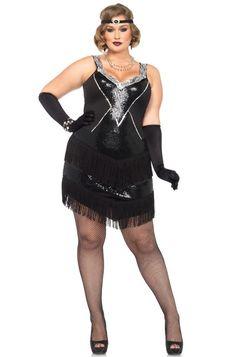 Leg Avenue Women's Plus-Size 2 Piece Glamour Flapper Costume, Black/Silver, Plus Size Flapper Costume, Plus Size Costume, Fantasia Plus Size, Sexy Costumes For Women, Woman Costumes, Couple Costumes, Group Costumes, Plus Size Halloween, Leg Avenue