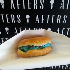 Afters Ice Cream - Tustin, CA, United States. cookie monster sandwiches between glazed milky buns