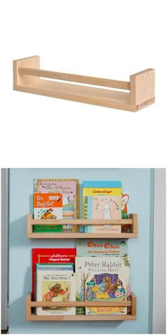 Turn a Bekvam spice rack into a bookshelf for your nursery or playroom thanks to this IKEA hack.