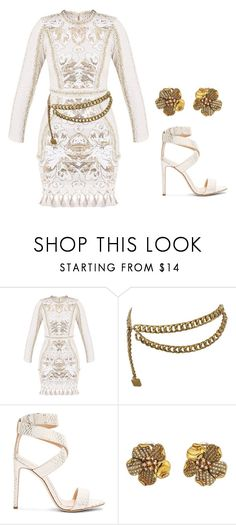 """White and gold  *** (ms)"" by ale-pink5 ❤ liked on Polyvore featuring Chanel, Giuseppe Zanotti and Oscar de la Renta"