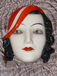 art deco william Goebel face wall mask lady dux | eBay