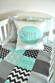 Hello Cushion in mint cover only by AlphabetMonkey on Etsy, $55.00