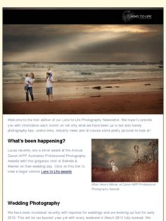 Check out the latest newsletter from Lens to Life Photography