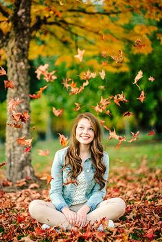 Senior Portrait / Photo / Picture Idea - Girls - Fall - Tossing Leaves