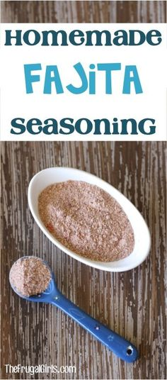 Fajita Seasoning Recipe! This easy recipe is perfect for chicken. Skip the expense of store bought seasoning packets and make this delicious homemade mix instead! | TheFrugalGirls.com