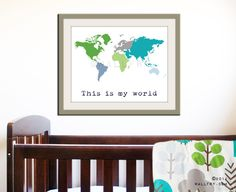 Kids wall art. World map print, childrens wall art. Kid playroom art. Colorful Map art for children, nursery art 16x20 print by WallFry. $38.00, via Etsy.