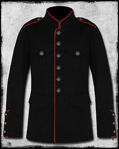Merona Cotton Regular Military Coats & Jackets for Men Black Military Jacket, Military Style Jackets, Military Coats, Military Suit, Military Fashion, Mens Fashion, Military Clothing, Rock Outfits, Kurta Designs
