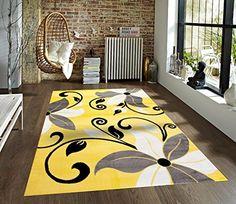 Modern Design Idea Rug Gray Yellow And Black Luxurious Elegant