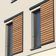 External wooden sliding shutters made from Siberian larch or heat-processed pine Window Design, Door Design, Exterior Design, Exterior Paint, House Windows, Windows And Doors, Shutter Designs, Wood Blinds, Curb Appeal