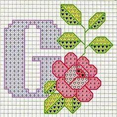 Rose alphabet X Cross Stitch Letters, Cross Stitch Charts, Cross Stitch Designs, Stitch Patterns, Embroidery Alphabet, Embroidery Art, Cross Stitch Embroidery, Monogram Alphabet, Alphabet And Numbers