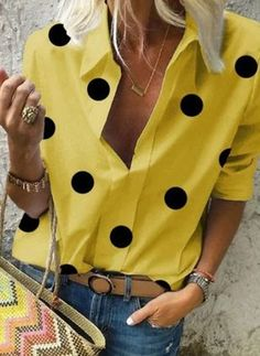 Yellow Blouse, Polka Dot Blouse, Polka Dots, Basic Tops, Blouse Styles, Half Sleeves, Shirt Blouses, Blouses For Women, Plus Size Outfits