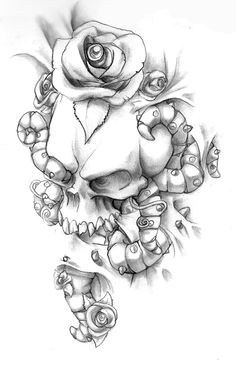 Drawings of Skulls and Roses Skulls And Roses, Skull Tattoos, Becca, Crosses, Scorpio, I Tattoo, Thigh, Tatting, Coloring Pages