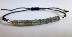 Faceted Rondelle Labradorite Stackable Beaded Bracelet