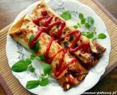 Przepis na Naleśniki po meksykańsku. Jak zrobić Naleśniki po meksykańsku Są doskonałą propozycją dla fanów wyrazistych smaków. Ostrości nadaje tutaj sos tabasco. Naleśniki po meksykańsku zawierają farsz z doprawionego na ostro mięsa mielonego z dodatkiem papryki, pomidorów z puszki, czerwonej fasolki i kukurydzy. Ostrość nadzienia możecie jednak dopasować wedle Food Vans, Polish Recipes, Dietitian, Caprese Salad, Vegetable Pizza, Food Inspiration, Main Dishes, Healthy Lifestyle, Tacos