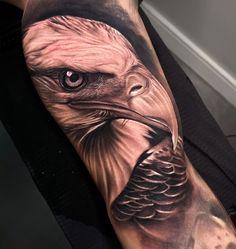 Eagle Tattoo Forearm, Bald Eagle Tattoos, Bicep Tattoo Men, Eagle Head Tattoo, Inner Bicep Tattoo, Forearm Band Tattoos, Body Art Tattoos, Wing Tattoos, Star Tattoos