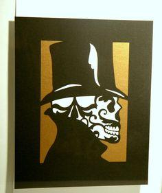 Cut Paper Sugar Skull Day of the Dead Artwork 8x10 Silver Gold - 2 piece - Unframed