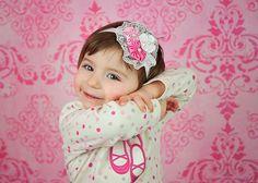 satin yoyos and lace headband baby headband by JazzyJewelsbowtique, $8.00
