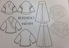 Board 13 Final Pieces Chosen  #Japan #Samurai #AlexanderMcQueen #McQueen #Fashion #Illustration #FashionIllustration #Design #Project #Bushido #AdobeIllustrator #Flats