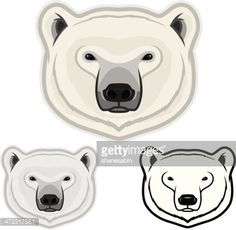 Faces of a polar bear. File is organized into layers for easy editing. Download includes: PDF, JPG, EPS formats.