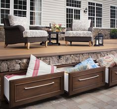 Keep your backyard organized to make the most of your patio living. In this post, discover clever patio storage ideas to tame your outdoor clutter. Patio Storage, Outdoor Storage, Storage Benches, Outdoor Rooms, Outdoor Living, Outdoor Kitchens, Outdoor Gear, Decking Material, Deck Furniture