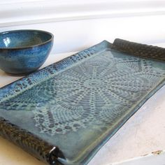 Pottery Tray Appetizer Plate Chip and Dip Stoneware Set by loriyab