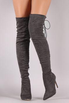 Back Studded Lace Up Pointy Toe Boots | UrbanOG