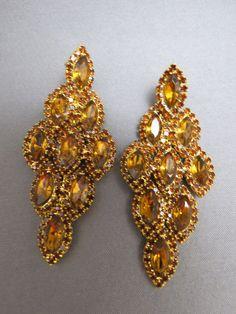 VTG Dangle Earrings Amber Navettes Pierced Stud Prong Set Gold Plated Rhinestone #Unbranded #DropDangle