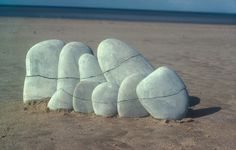 Crack line in stones  Morecambe Bay, Lancashire  March 1978 © Andy Goldsworthy