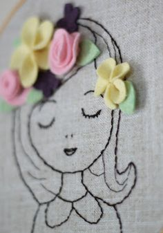 Small Things: Embroidered Portrait with Felt Flowers