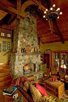 Fieldstone Fireplace traditional living room