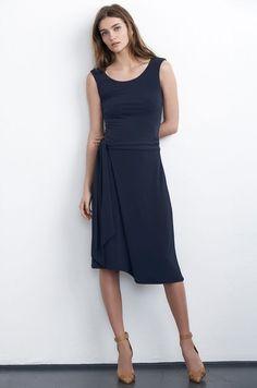 VELVET By Graham & Spencer Tessie Sleeveless Tie Wrap Skirt Dress Navy S $178 #Velvet #Dress #Casual