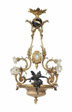 A FRENCH ORMOLU, PATINATED-BRONZE AND ALABASTER SIX-LIGHT CHANDELIER - LATE 19TH CENTURY.