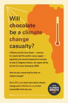 Attention sustainable restaurants! We want to let you know about how you can participate in Climate Impacts Day on May 5th, a global effort to encourage people to connect the dots between climate change and extreme weather – and how that impacts our food. Choose from three climate change postcards which can be placed in your guest check holders or shared via your Facebook or Twitter accounts. #chocolate www.eatwellguide.org/i.php?id=postcards