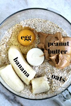 ingredients for peanut butter banana dog treats in food processor bowl treats homemade Dog Cake Recipes, Easy Dog Treat Recipes, Dog Biscuit Recipes, Dog Food Recipes, Banana Dog Treat Recipe, Recipe Treats, Recipe For Dog Biscuits, Dog Cookies Recipe Peanut Butter, Homemade Dog Biscuits