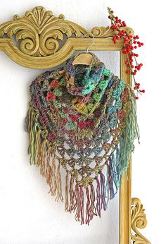 Crochet shawl Crochet scarf Fringe boho scarf by MarryGKnitCrochet
