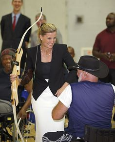"09 OCTOBER 2014 The Countess of Wessex showed that archery was not quite her forte as she missed more than one target on a visit to Stoke Mandeville Stadium on Wednesday.   Clasping her hand to her mouth and stifling a giggle, Sophie made no attempt to hide her shock and amusement as she unsuccessfully tried her hand at the sport.   The royal was touring the facility better known as the UK's national centre for disability sport, which credits itself as the ""birthplace of the Paralympic…"