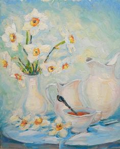 Still Life Flowers Daffodils in Vase Spring Bouquet by FrozenLife