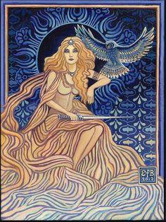 """Minerva ~ Roman Goddess of Wisdom"" by Emily Balivet. Acrylic on canvas, 2012."