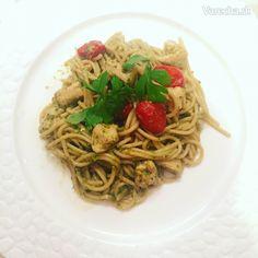 Celozrnné cestoviny so zeleným pestom a kuracím mäsom (fotorecept) - Recept