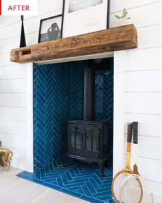 Great No Cost wooden Fireplace Remodel Thoughts Before & After: Bright.Bazaar's Airy, Beachy Remodel Wood Burner Fireplace, Wooden Fireplace, Small Fireplace, Fireplace Hearth, Home Fireplace, Fireplace Remodel, Fireplaces, Tiled Fireplace, Fireplace Ideas