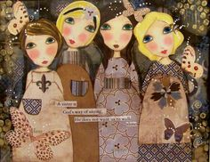 Four Sisters Fine art PRINT 8x10 by Southendgirlart on Etsy, $24.00