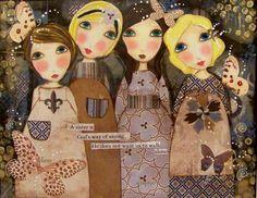Four Sisters Fine art PRINT 8x10 by Southendgirlart on Etsy, $24.00