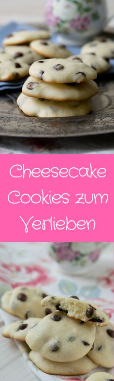 These cheesecake cookies are not only loved by children - with chocolate chips and .- Diese Cheesecake Cookies lieben nicht nur die Kinder – mit Chocolate Chips und s… These cheesecake cookies are not only loved by children … - Chocolate Chip Cookies, Chocolate Cookie Recipes, Homemade Chocolate, Chocolate Desserts, Chocolate Chips, Cake Chocolate, Brownie Cookies, Vegan Chocolate, Chocolate Cheesecake