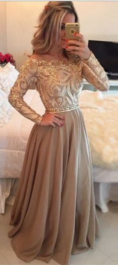 Elegant Hot Selling A-Line off the shoulder Floor Length Gold Prom Dresses Glitter Long Chiffon Evening Dress with Long Sleeves