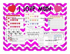 This pack contains everything you need for 5 different Valentine themed Math Work Stations! Included are:Conversation Heart Patterning strips a. Ten Frame Activities, Kindergarten Activities, Preschool, Teaching Tips, Teaching Math, Classroom Crafts, Classroom Ideas, School Items, School Stuff